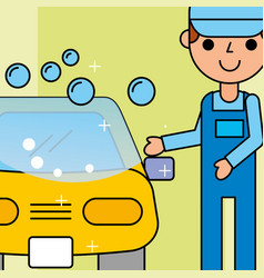 Employee car wash service maintenance vector