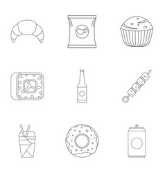 Farinaceous icons set outline style vector