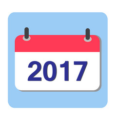 flat calendar icon 2017 new year 2017 vector image