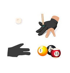 flat cartoon billiard objects set vector image