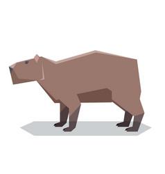 flat polygonal capybara vector image