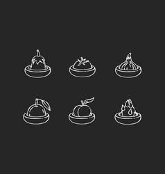 food savers chalk white icons set on black vector image