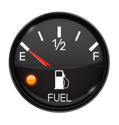 Fuel gauge empty tank round black car dashboard vector