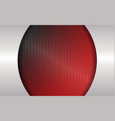 geometric red background with metal grille and vector image