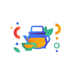 glass kettle and cup of green tea healthy vector image
