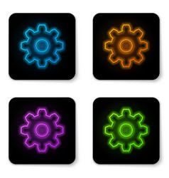 glowing neon gear icon isolated on white vector image