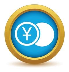 Gold yen coin icon vector