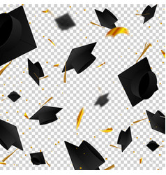 graduate caps and confetti on a white background vector image