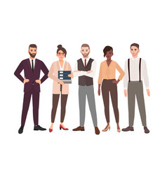 group of office employees standing together team vector image
