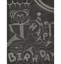 Happy Birthday greeting card design in vintage sty vector