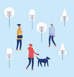 Happy winter people vacation vector