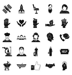 Human resources icons set simple style vector