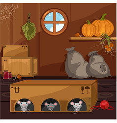 inside old farmhouse home furnishings vector image