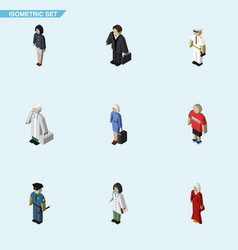 Isometric human set of girl officer seaman and vector