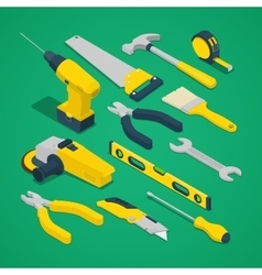 Isometric Work Tools Set with Drill Screwdriver vector image