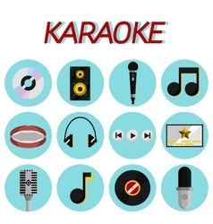 Karaoke flat icon set vector image