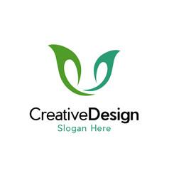 leaf green ecology creative business logo vector image