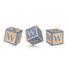 letter W wooden alphabet blocks vector image