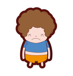 Line color boy with curly hair and sad face vector