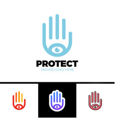 Logo of a stylized hand with eye symbol this logo vector