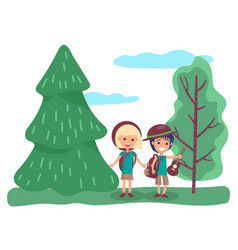 male and female dating in forest traveling vector image