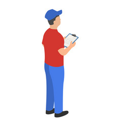 Man checking warehouse icon isometric style vector