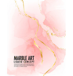 marble pink background acohol ink golden texture vector image