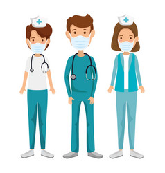 Nurses with paramedic using face mask isolated vector