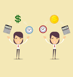 office clock calculator and money time is money vector image