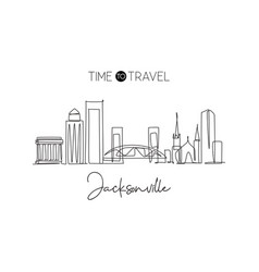one single line drawing jacksonville city vector image