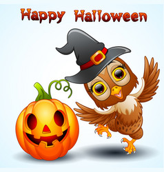 owl cartoon with halloween hat and pumpkin vector image