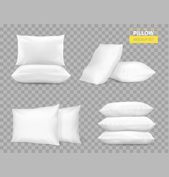 realistic white pillows transparent set vector image