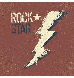 Rockstar Grunge lettering with thunderbolt symbol vector image