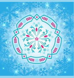 Rosemaling winter snowflake ornaments vector
