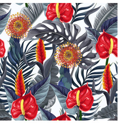 seamless pattern with anthuriums and tropical vector image