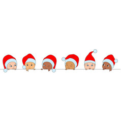 set christmas funny children different races vector image