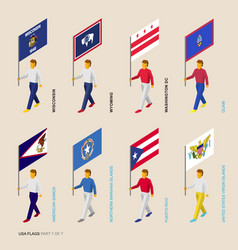 Set of isometric usa states standard bearers vector