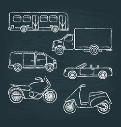 set of transport sketches on chalkboard vector image