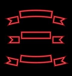 Set ribbons neon lights vector
