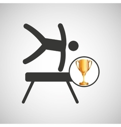 Silhouette man gymnastic pommel horse trophy vector