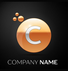 silver letter c logo gold dots splash and bubble vector image