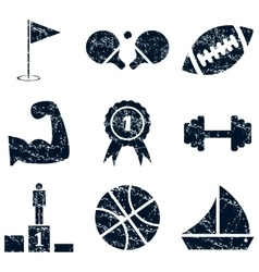 Sport icons set grunge vector