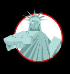 statue of liberty winks thumbs up landmark vector image