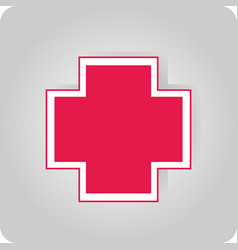 Sticker with a red cross vector