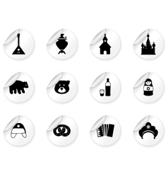 Stickers with russian icons vector image