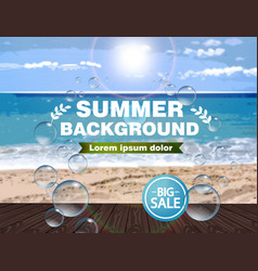 summer sea background realistic blur vector image