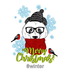 Sweet panda in scarf and hat vector