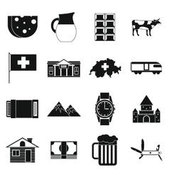 Switzerland Icons set simple style vector