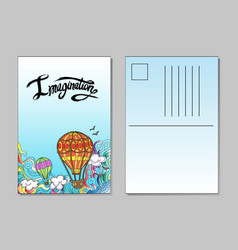 Template of postcard with airballoons vector