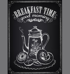 Vintage poster breakfast time croissant and vector